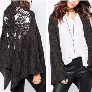 Free People | Crochet Back Shawl Wrap Cardigan OS